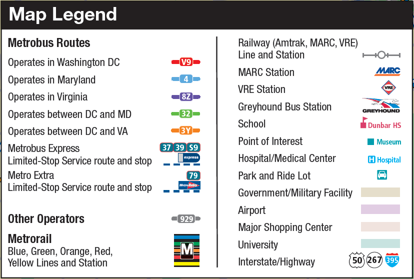 DC Bus Map WMATA legend