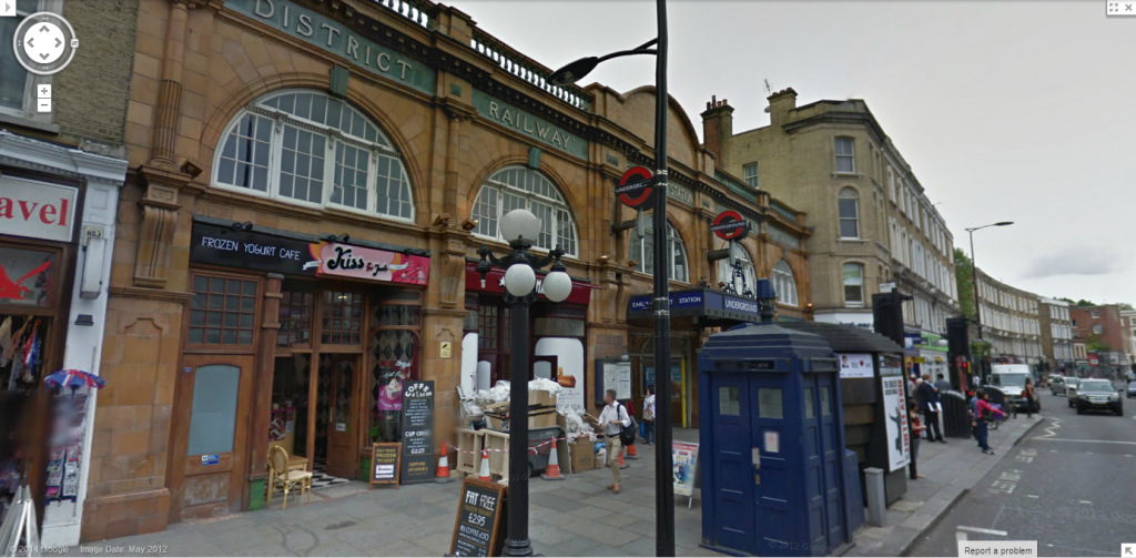 Earl's Court Underground station along Earl's Court Road, with street-facing retail. Image from Google Streetview.