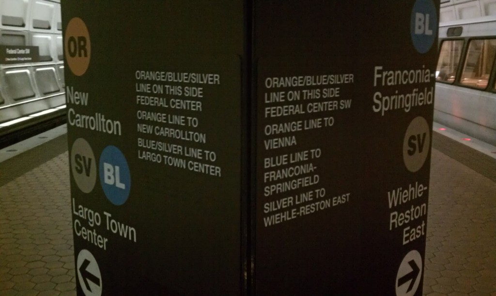 New signage, complete with (SV) bullets at Federal Center SW Station. Photo by the author.