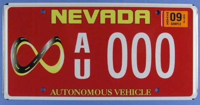 Nevada autonomous vehicle license plate. CC image from National Museum of American History.