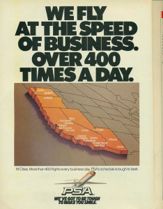 Pacific Southwest Airlines post-deregulation ad (1985), showing their expansion beyond California. Image from Airbus777 on flickr.