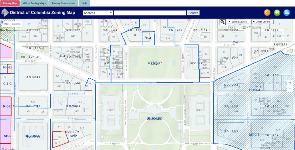 In case you were wondering, the White House grounds are technically unzoned - as is a lot of federal property in DC. Screenshot from the DC online zoning map.