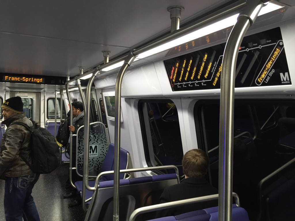 Comparison of visibility of LED signage in WMATA 7000 series railcars. Photo by the author.